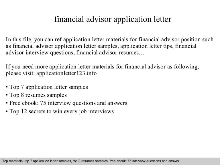 Financial advisor application letter