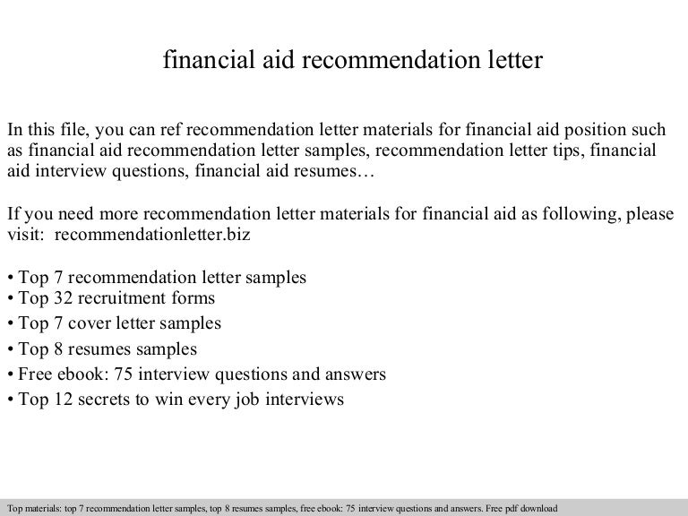cover letter for financial aid
