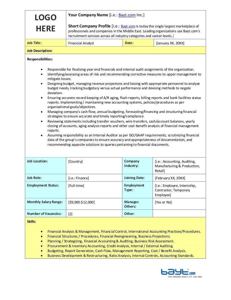 Financial Analyst Job Description Template By BaytCom