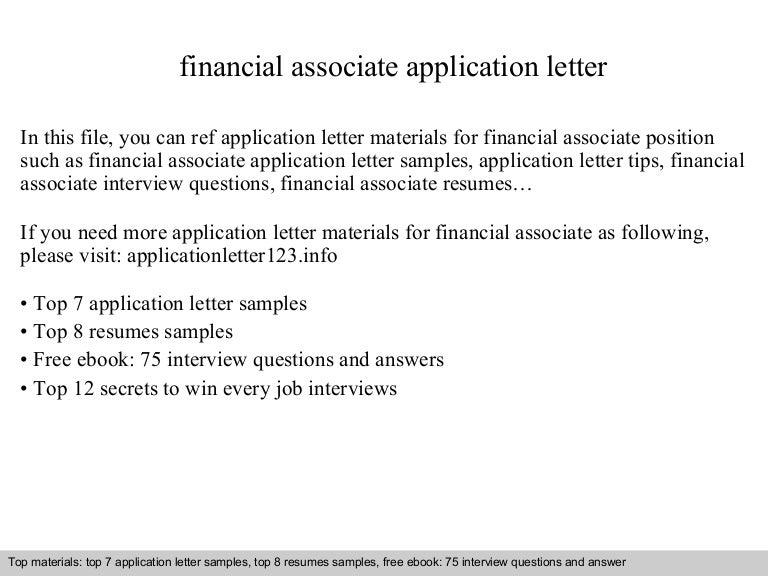 Financial associate application letter