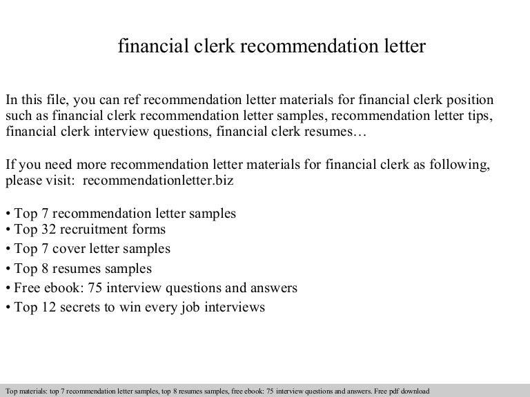 Financial clerk recommendation letter