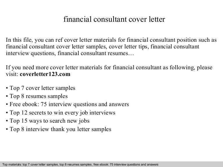 Financial consultant cover letter