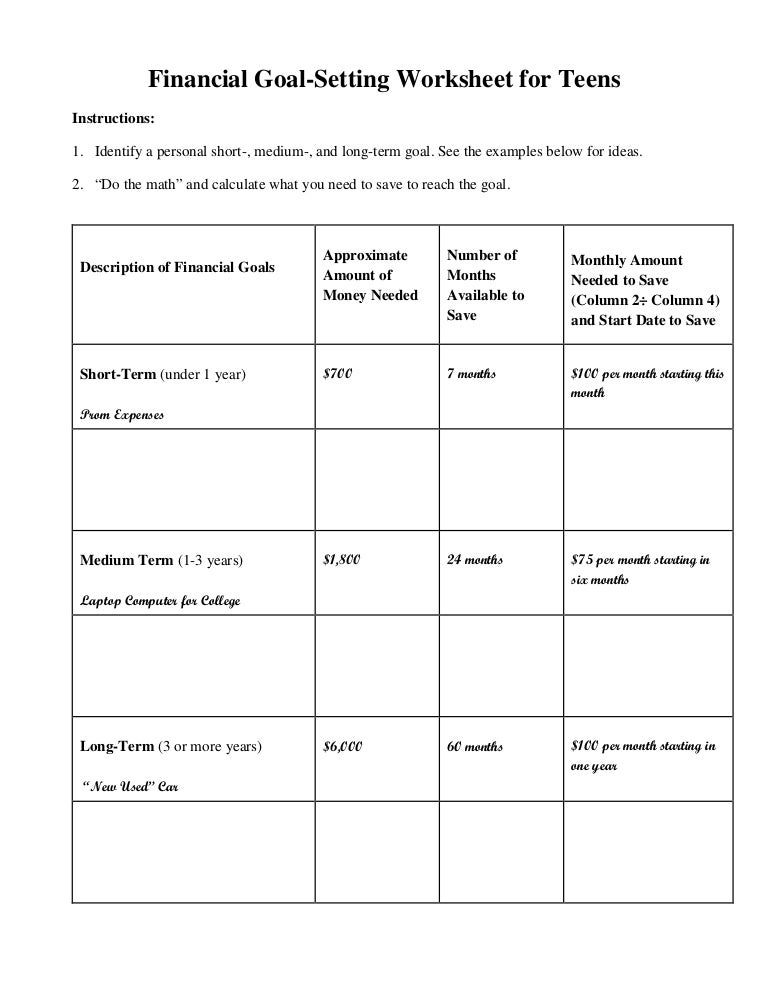 Financial Goal Setting Worksheet For Teens