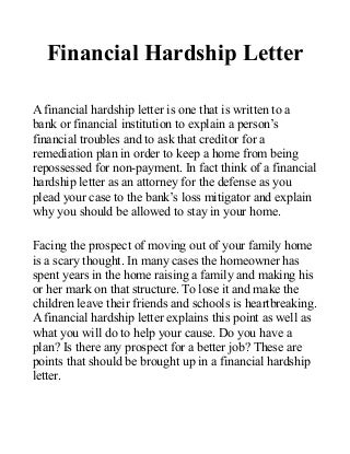 economic hardship sample letter how you can benefit from a ...