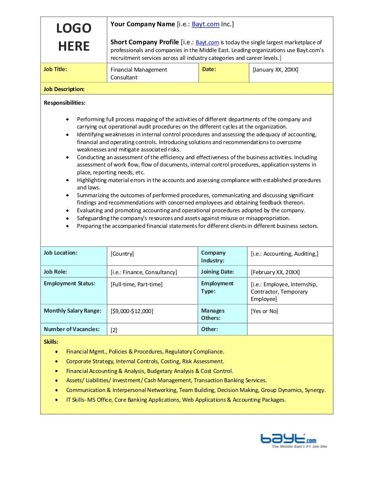 Financial Management Consultant Job Description Template By Bayt.Com