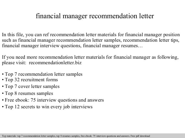 Financial Manager Recommendation Letter