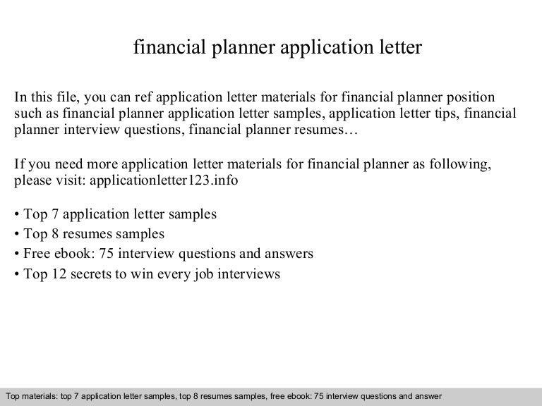Financial planner application letter