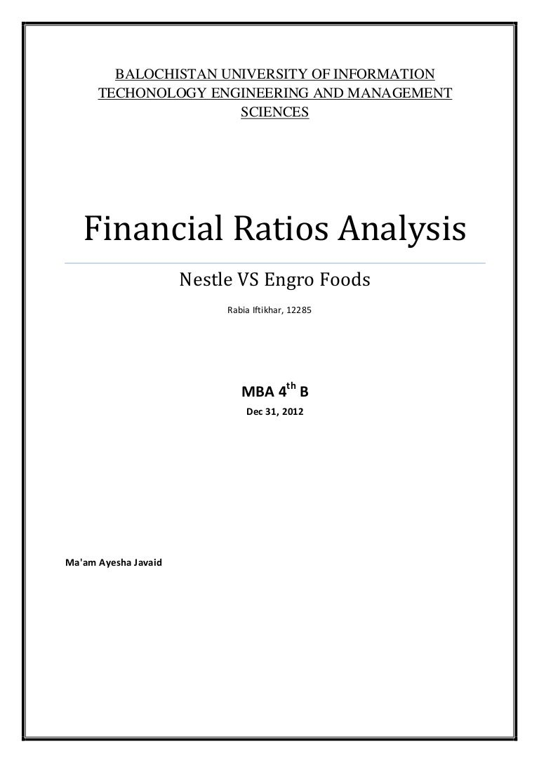 financial ratios analysis project at nestle and engro foods