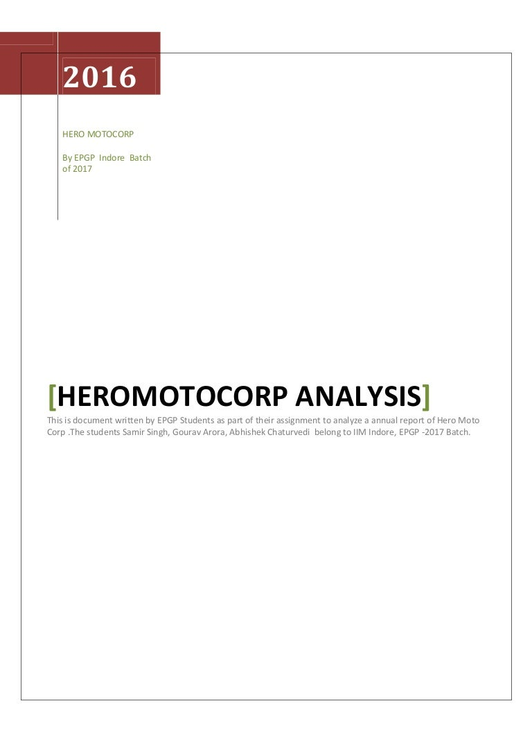 Financial reporting and analysis hero motocorp ltd v1 – Annual Report Analysis Sample