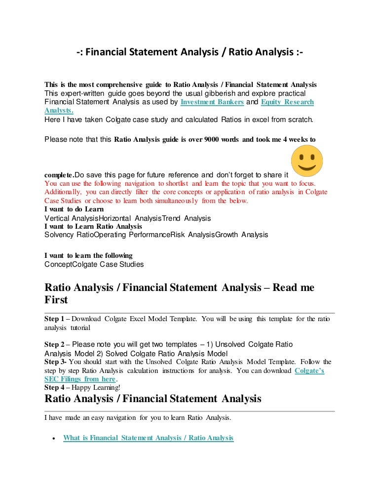 Financial statement analysis ratio analysis