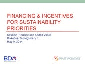 Financing and incentives for sustainability