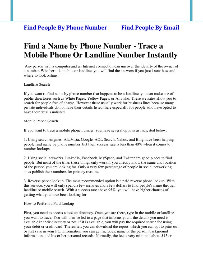 find peoples names by phone numbers