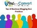Top 10 Business Blogging Best Practices