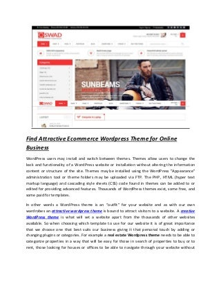 Find attractive ecommerce_wordpress_theme_for_online_business