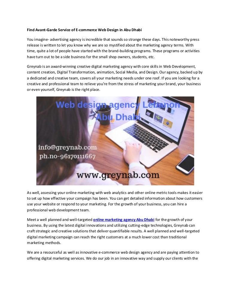 Find Avant Garde Service Of E Commerce Web Design In Lebanon