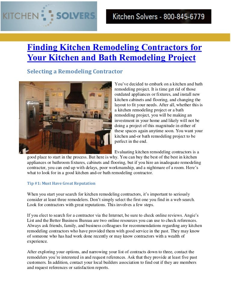 Finding Kitchen Remodeling Contractors For Your Kitchen And Bath Remo