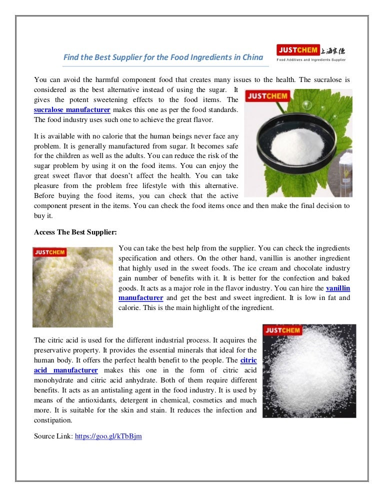 Find the best supplier for the food ingredients in china