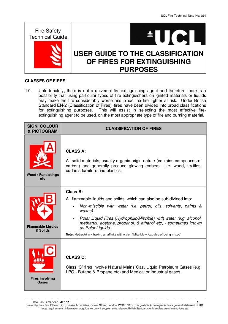 Classification of fires