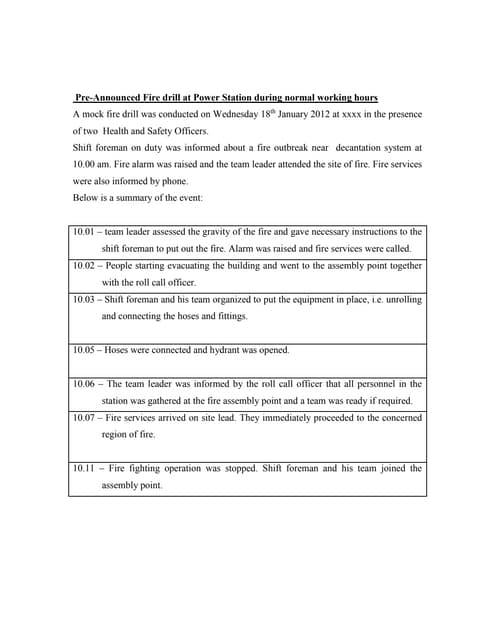 Fire drill report