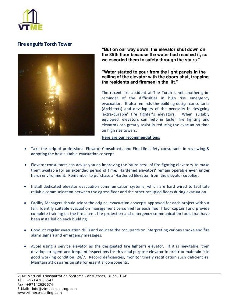 VTME DUBAI elevator consultants advise for firefighting