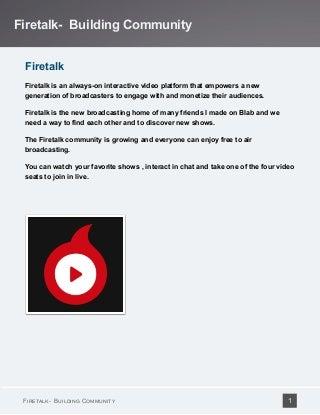 Firetalk Video Chat - Building Community - Show Hosts