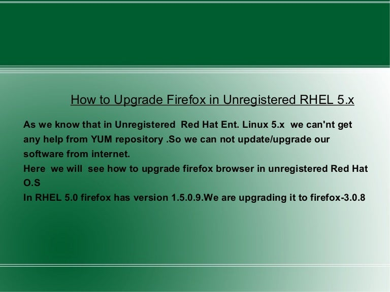 Upgrading Firefox without using YUM