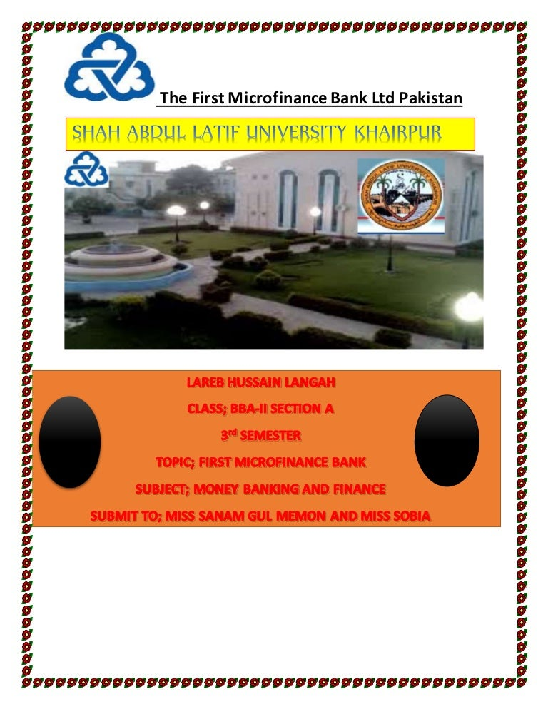 Microfinance 1 Notes: First Microfinance Bank