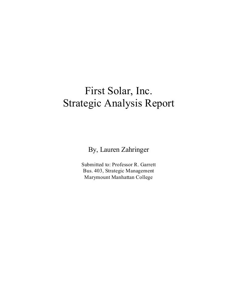 First Solar Inc., Strategic Analysis Report