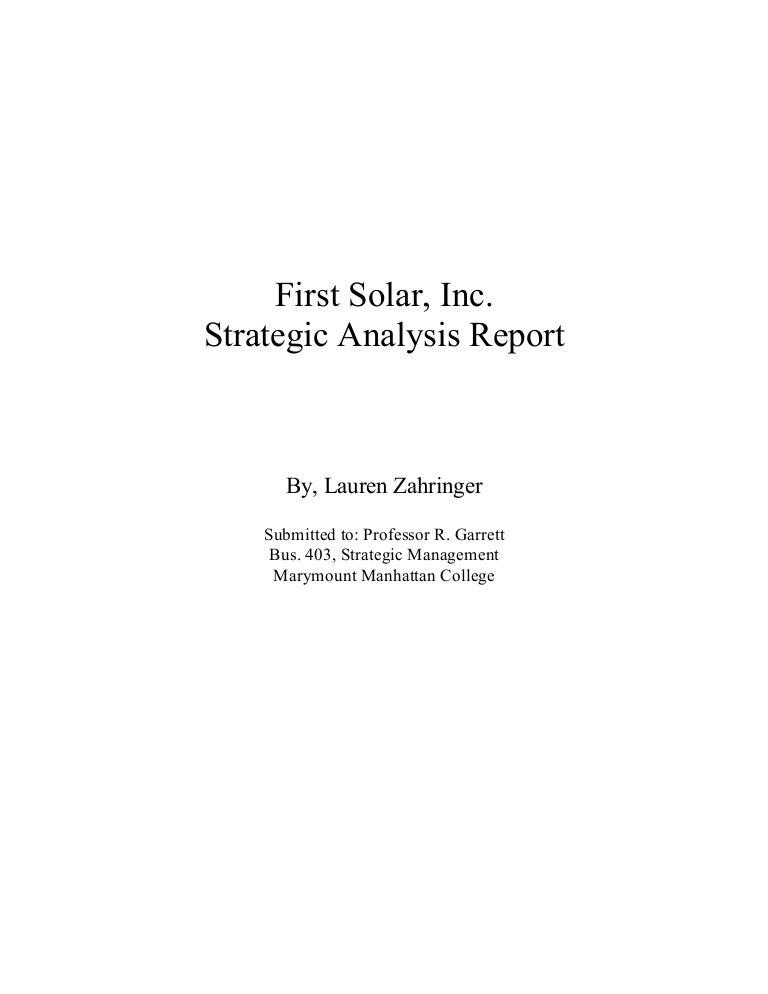 First Solar Inc Strategic Analysis Report
