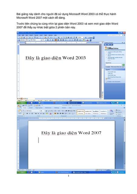 Những điểm khác biệt từ word 2003 và 2007