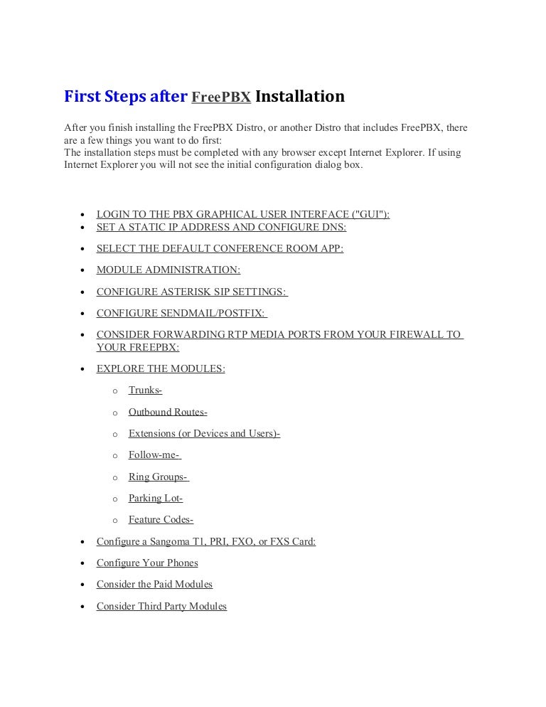 First steps after free pbx installation