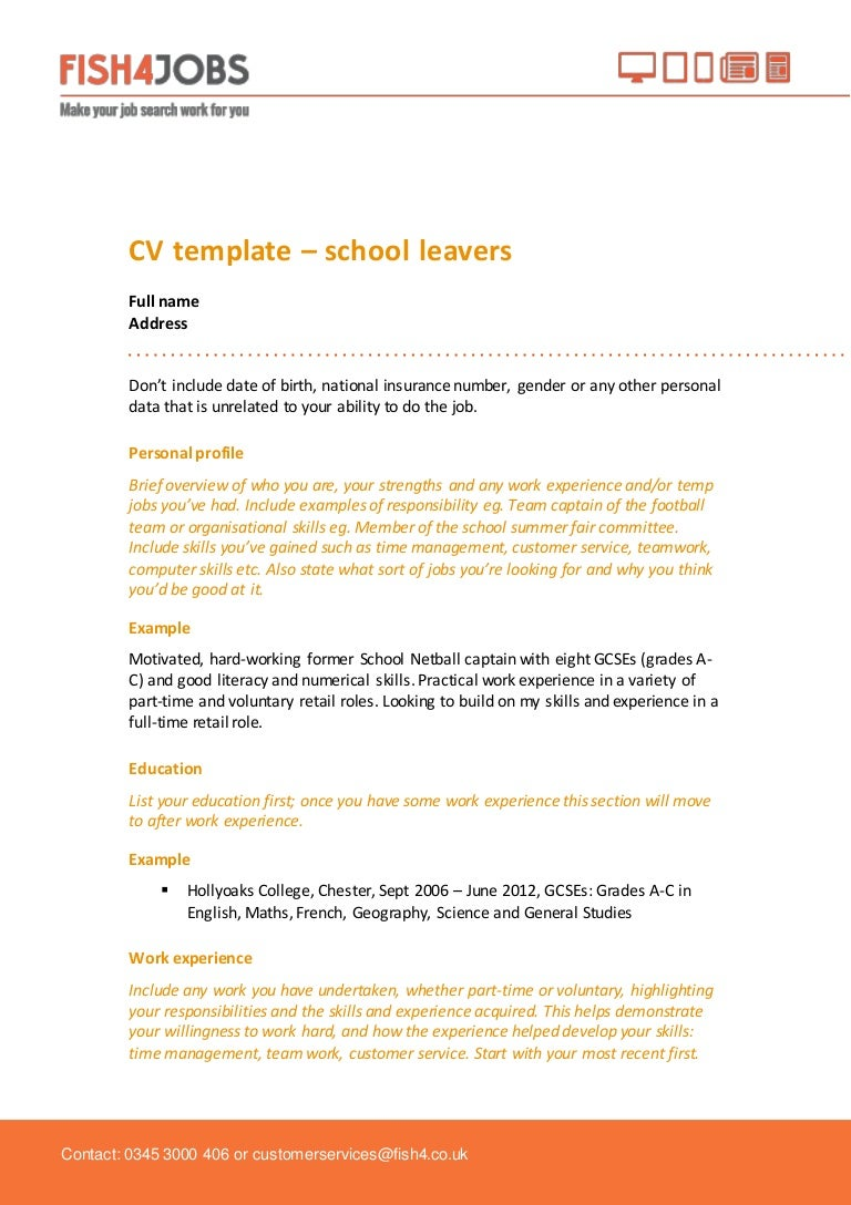 fish4jobs cv template for school leavers