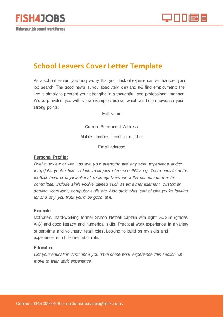 fishjobs school leavers cover template