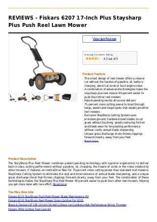 Fiskars 6207 17 inch plus staysharp plus push reel lawn mower
