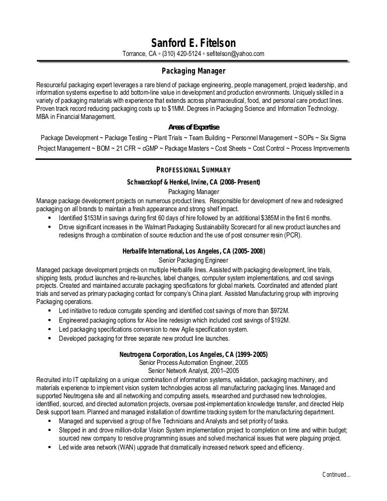 sanford fitelson resume - Electronic Packaging Engineer Sample Resume