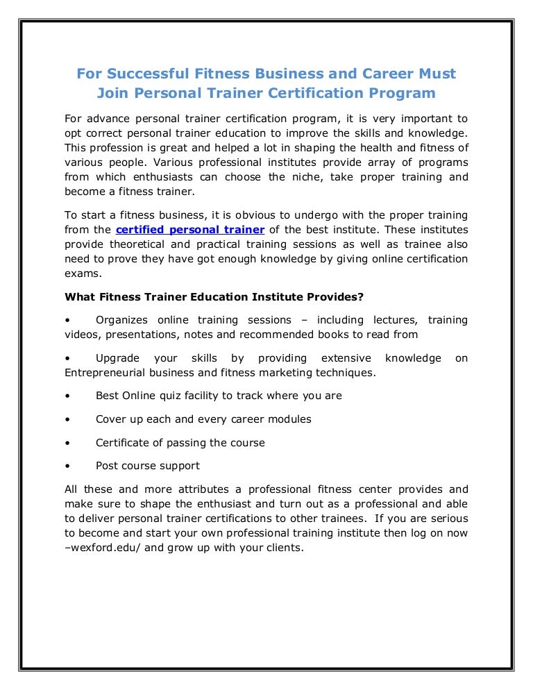 Fitness Business And Career Must Join Personal Trainer Certification