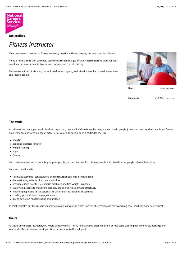 fitnessinstructorjobinformationnationalcareersservice 150815200520 lva1 app6891 thumbnail 4?cb=1441105960 fitness instructor job information national careers service  at bakdesigns.co
