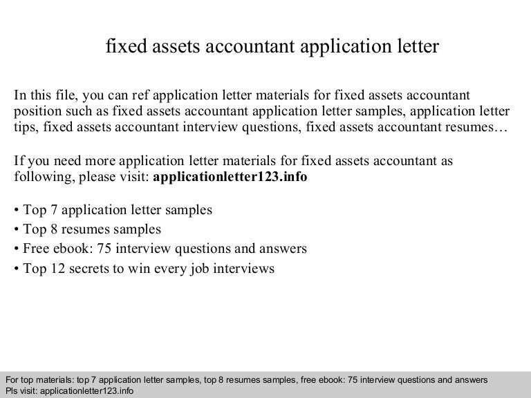 Fixed assets accountant application letter