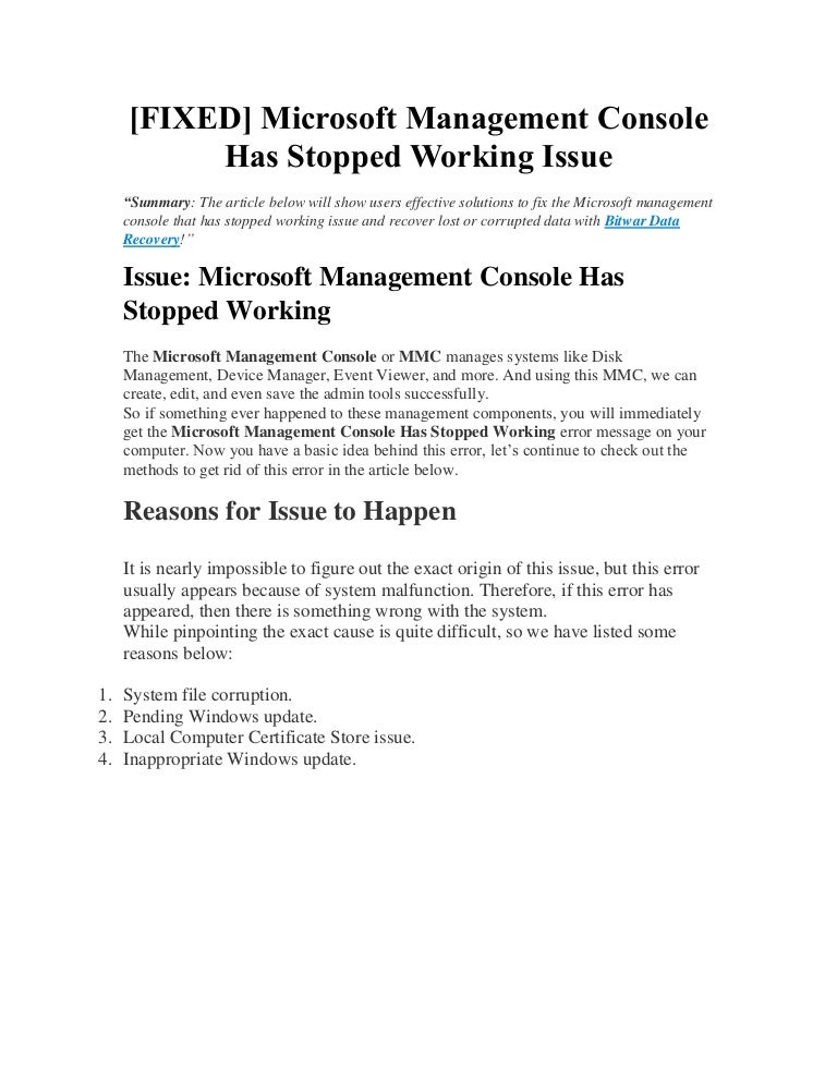 Free [Fixed] microsoft management console has stopped working issue
