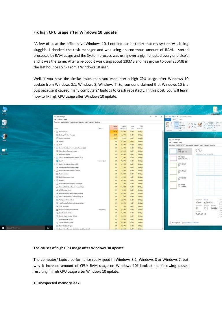 Fix high cpu usage after windows 10 update