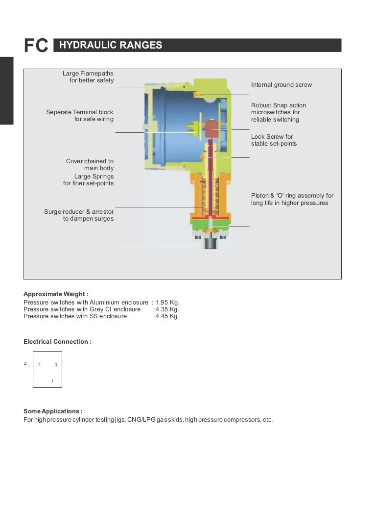 Flameproof Hydraulic Range Pressure Switches Fc Series Wiring A Stable Block