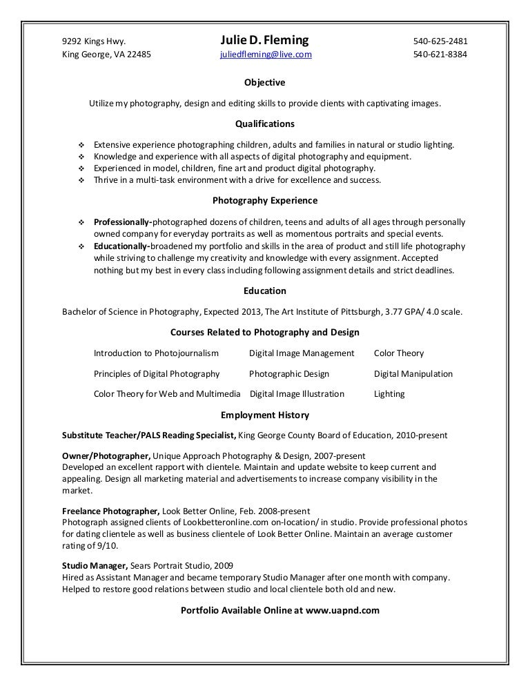 fleming j resume - Photography Resume Examples