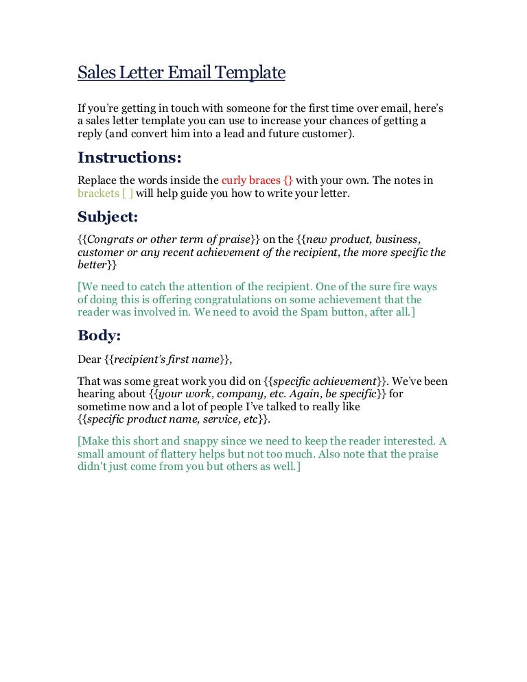 Sales Letter Email Template