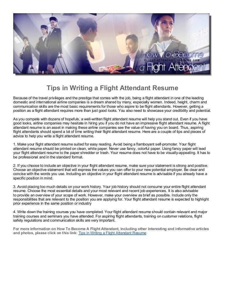 Tips in Writing a Flight Attendant Resume – Flight Attendant Resume