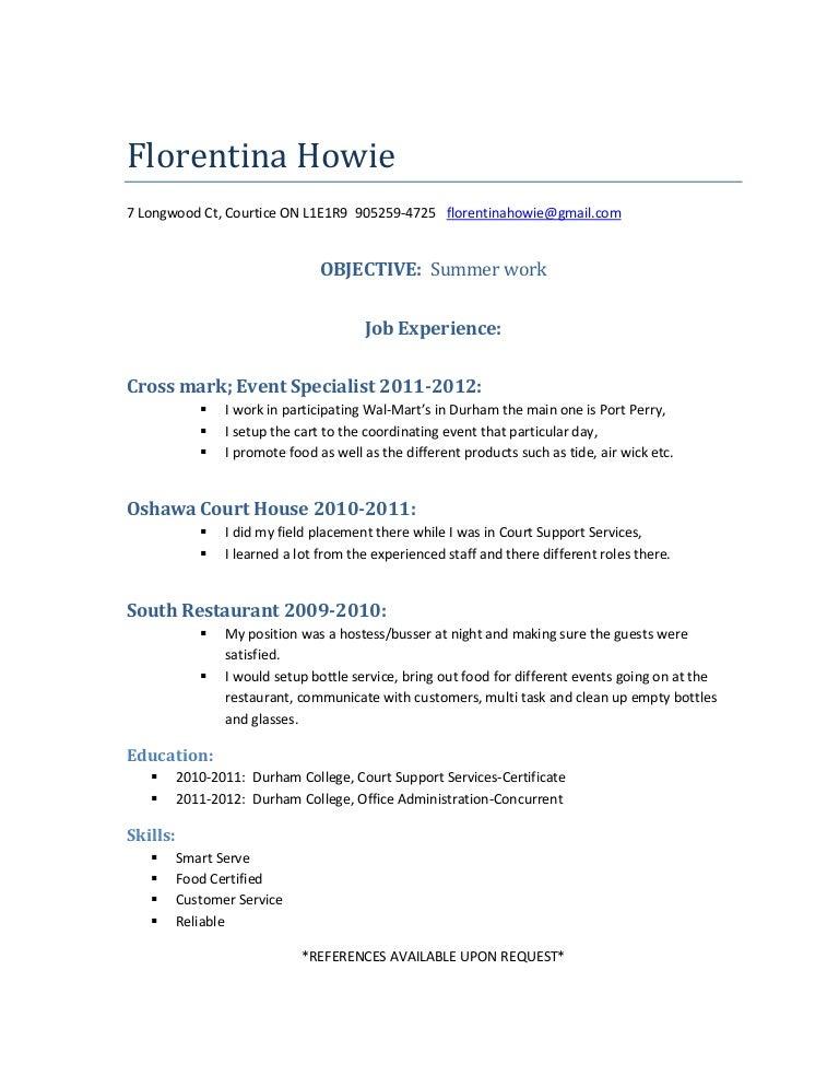 Floina S Resume Sle Waiter Waitress Job Intended For Bottle Service Thesocialsubmit