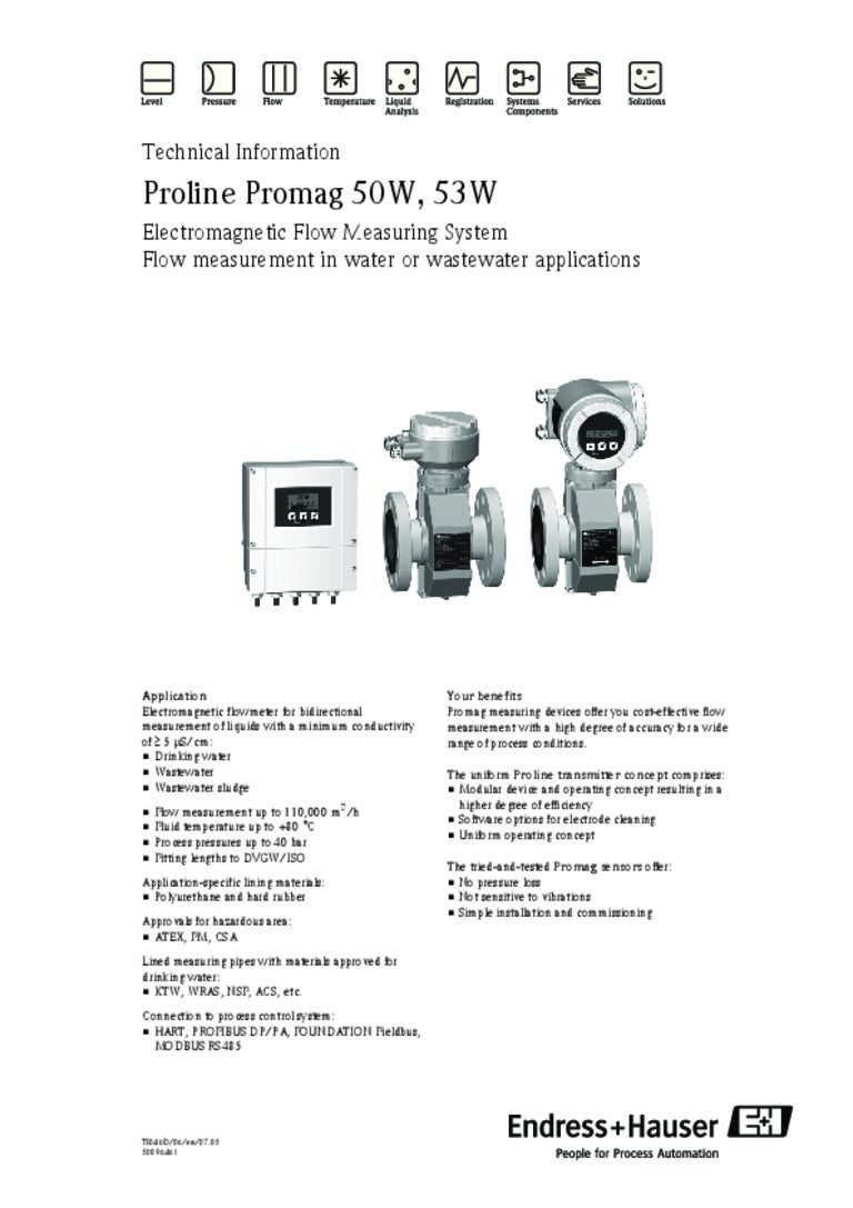 Flowmeter Promag 50W, 53W-Electromagnetic-Water and Waste Water