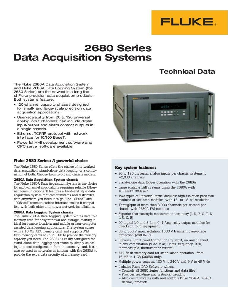 Datasheet Fluke Data Acquisition System Hubungi Pt