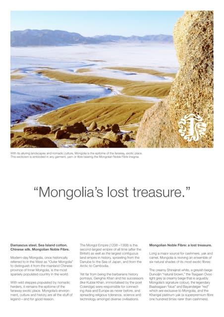 Flyer for hk cashmere world fair introducing mongolian noble fibre