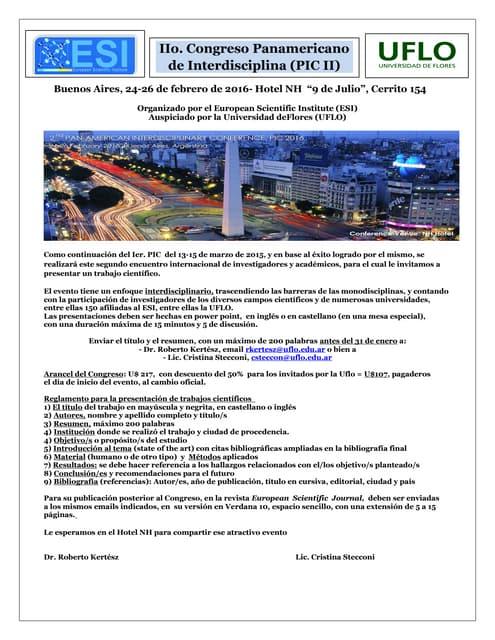 II° Congreso Panamericano de Interdisciplina