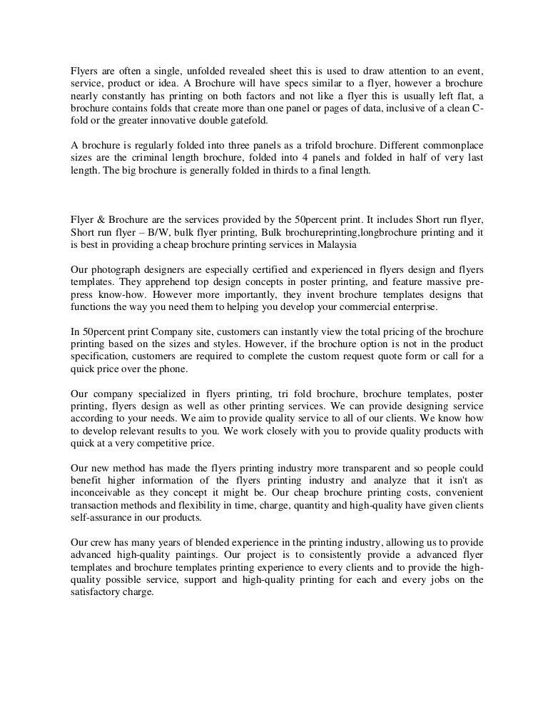 Flyers Printing Malaysia |Brochure Templates | 50percentprint